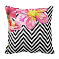 """This summery """"Chevron Floral"""" throw pillow features handpainted multi-colored flowers against a black and white chevron pattern. So stylish, it's suitable for any décor. For questions or custom requests for matching products, please contact cheryl@cheryldanielsart.com. Available in 8 colors: coral, mauve, teal, celery, grey, black & white, yellow and taupe. """"Chevron Floral"""" original design by Cheryl Daniels © 2014. #housewarming #gift #new #home #condo #chevron #floral #throw #pillow ..."""