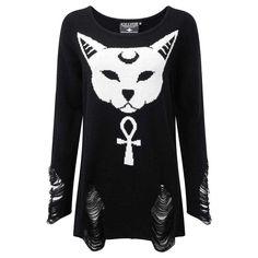 Purrfect gebreide sweater trui met ladders en kat ankh afbeelding zwart