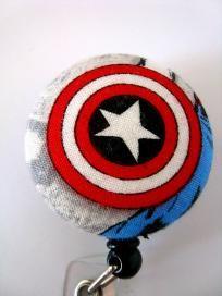 Captain America Shield--Super Hero Fabric Button Badge Reel ID Holder
