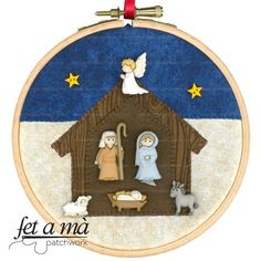 Kit Navidad Nacimiento Bastidor Nativity Ornaments, Christmas Nativity Scene, Nativity Crafts, Felt Christmas Ornaments, Christmas Projects, Christmas Crafts, Fabric Christmas Decorations, Christmas Fabric, Christmas Themes