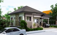 Topacio is a one story small home plan with one car garage. It consist of 3 bedrooms with the 2 bedrooms elevated further from the living room floor. Modern Bungalow House Design, House Floor Design, Small House Exteriors, Small House Interior Design, Simple House Design, Minimalist House Design, Garage House Plans, House Plans One Story, Bungalow House Plans