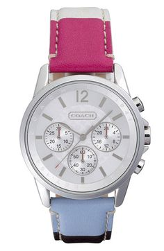 COACH Classic Signature Stripe Leather Strap Watch available at Nordstrom