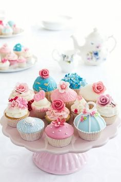 Buy Cupcakes by RuthBlack on PhotoDune. Variety of cupcakes on a cakestand Fancy Cupcakes, Pretty Cupcakes, Beautiful Cupcakes, Flower Cupcakes, Cupcake Cookies, Spring Cupcakes, Cupcake Toppers, Easter Cupcakes, Cupcake Recipes