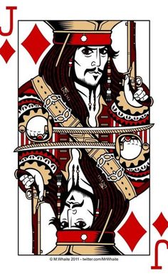 Jack of Diamonds! Does this not look like Johnny Depp as Captain Jack Sparrow, or do I just see Johnny Depp everywhere?<<it's suppose to be Johnny Depp. Captain Jack Sparrow, Rock Poster, Pirate Life, Pirates Of The Caribbean, Deck Of Cards, Narnia, Disney Magic, Poker, Pop Art