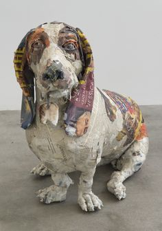 "Hank, 2013, 22"" x 36"" x 12"", wood, wore, newspaper, tape, glue, matte medium, uv matte varnish"
