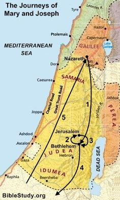 Map Of Journey Of Mary And Joseph From Nazareth To Bethlehem Is