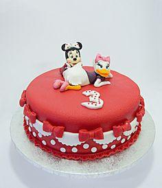 Minnie and Daisy cake Daisy Cakes, Birthday Cake, Desserts, Food, Tailgate Desserts, Deserts, Birthday Cakes, Essen, Postres