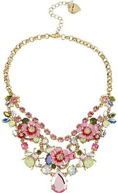 Betsey Johnson Spring Glam Pink Flower Necklace