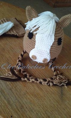 Crocheted Horse Hat and Diaper Cover / by QteePatooteescrochet Crochet Animal Hats, Crochet Horse, Crochet Kids Hats, Crochet Girls, Crochet Beanie, Knit Or Crochet, Cute Crochet, Crochet Crafts, Crochet Clothes