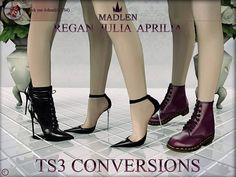 Madlens Regan, Julia and Aprilia shoes TS4 to TS3 conversions for Sims 3