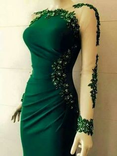 Gorgeous green gown with incredible sleeve detail