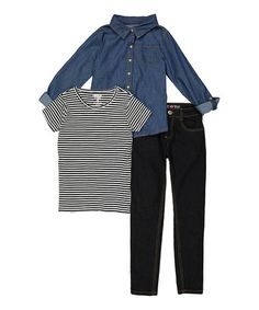 Loving this Dark Denim Top & Jeans Set - Toddler & Girls on #zulily! #zulilyfinds