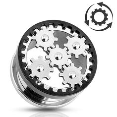 Steampunk Ear Plugs w/ Rotating Gears 316L Surgical Steel