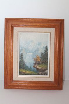 """Artist Signed Oil Painting on Wood Snowcapped Mountain Waterfall """"help with Sig"""" #Gifts"""