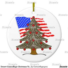 Desert Camouflage Christmas Tree w/American Flag Ceramic Ornament #camouflage4you #Gravityx9