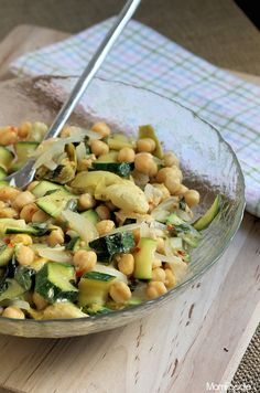 Zucchini Salad with Chickpeas and Artichokes #salads #artichokes