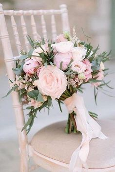 Hottest 7 Spring Wedding Flowers to Rock Your Big Day---peonies and garden roses wedding bouquet with blush ribbon and greenery, spring wedding ideas, diy wedding flowers wedding flowers Hottest 7 Spring Wedding Flowers to Rock Your Big Day Cheap Wedding Flowers, Spring Wedding Flowers, Bridal Flowers, Flower Bouquet Wedding, Rose Wedding, Floral Wedding, Wedding Colors, Dream Wedding, Ribbon Wedding