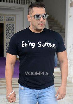 Salman Khan looks rocking in shiny sunglasses & a black Being Sultan t-shirt. via Voompla.com