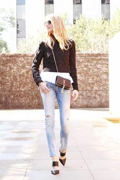 Black Cable Knit Cropped Pullover Sweater, White Peplum Shirt, Denim ripped jeans, Black Cutout Mule Heels, Black YSL Cassandre Crossbody Handbag #fashionjackson