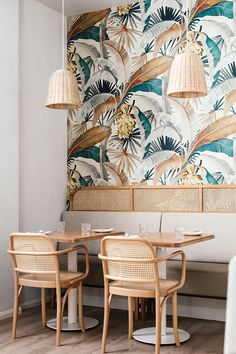 Tropical meets coastal at Tasmanian cafe/restaurant sisterhoodhobart in Sandy Bay, where Australian studio Biasol Design has teamed wicker pendant lights and thonetaustralia chairs with jungley mokumstudio wallpaper. RG biasoldesign By .