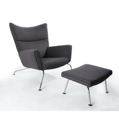 Hans Wegner Style Wing Chair & Ottoman