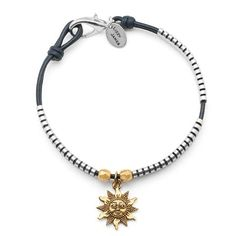 Sarah anklet shown in Gloss Navy leather, comes with Sun charm attached