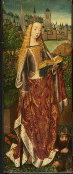 Master of the Legend of St. Lucy, Netherlandish (Bruges), St. Catherine of Alexandria  - 15th century sideless - Philadelphia Museum of Art.   I'm trying to figure out if that's a sideless and matching mantle, or a sideless with a mantle attached?  Or just the artist taking liberties?