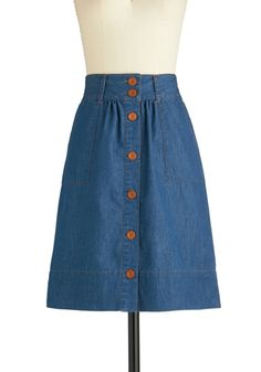 $52.99 Know What I Jean Skirt... Complete with patch pockets and belt loops