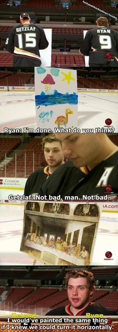 Painting with Ryan Getzlaf and Bobby Ryan. Hockey players are adorable. Hockey Memes, Hockey Quotes, Sports Memes, Funny Hockey, Ducks Hockey, Hockey Baby, Ice Hockey, Dump A Day, Lol