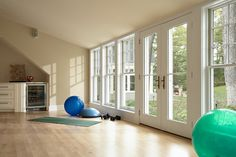 Ok, I could care less about the home gym thing but I LOVE the wall of windows along with the French doors!  traditional home gym by Murphy & Co. Design