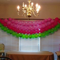Watermelon party pink and green balloon decoration. First Birthday Themes, Baby Girl 1st Birthday, Summer Birthday, First Birthday Parties, Birthday Decorations, Birthday Ideas, Baby Shower Watermelon, Watermelon Birthday Parties, Watermelon Party Decorations