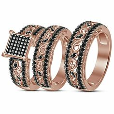 2.30 Ct Diamond Engagement Ring Wedding Band His Her Trio Set 14K Rose Gold Over #ismatarajewels Gold Wedding Rings, Wedding Ring Bands, Wedding Jewelry, Gold Ring, Engagement Bands, Diamond Engagement Rings, Ivory Pearl, Silver Diamonds, Silver Jewelry