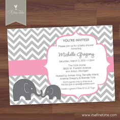 Baby Shower Invitation - Little Elephant - Mod - Chevron - Pink - Boy, Girl, Twins, Gender Neutral (DIY Digital Printable)     http://www.etsy.com/listing/128538922/baby-shower-invitation-little-elephant?ref=sr_gallery_26_search_query=elephant+baby+shower+invitation_view_type=gallery_ship_to=US_page=17_search_type=all