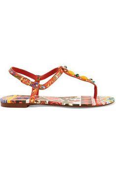 €495 DOLCE   GABBANA Embellished printed leather sandals €495 Rode  Sandalen, Lederen Sandalen 126ce7edb095