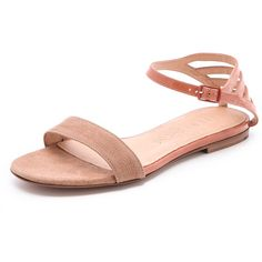 See by Chloe Patent Trim Flat Sandals ($280) ❤ liked on Polyvore