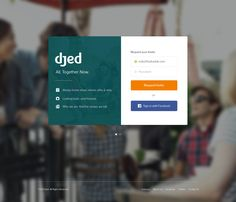 modal signup in a flat, minimal design with blurred images.