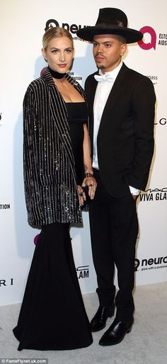 Date night: Ashlee Simpson and her husband Evan Ross opted for his 'n' hers dramatic looks...