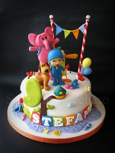 pocoyo2 by Sogni di Zucchero, via Flickr First Birthday Party Themes, First Birthday Cakes, 1st Boy Birthday, Cake Pocoyo, Bolo Laura, Mickey Mouse Theme Party, Cake Designs For Girl, Cupcakes Decorados, Twins 1st Birthdays