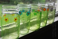 how to make pretty Painted Mason Jar Drinking Glasses by Amanda Formaro of Crafts by Amanda