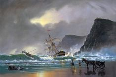 The Wreckers. A maritime painting by Donald MacLeod