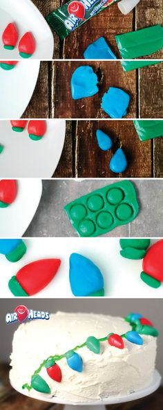 It is fun and easy to make cake decorations using Airheads candy! Simply mold, cut, and shape this colorful sweet treat into unique shapes for your holiday dessert table! Since Airheads is gluten and peanut-free, it is perfect for sharing during the holiday season. Check out this great tutorial for a Christmas Light Cake recipe.