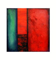 Home decor brilliant red black teal abstract by avaavadonstudio, $125.00