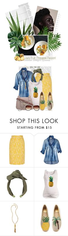 """""""NEW!!! Contest: Juicy Fruit: Pineapple Passion!"""" by crystal85 ❤ liked on Polyvore featuring Oscar de la Renta, Jennifer Behr, Lilly Pulitzer, Tory Burch and Dita"""