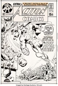 Neal Adams and Dick Giordano Action Comics Cover Superman Superman Comic Books, Comic Book Heroes, Superman Family, Man Of Steel, Comic Art, Original Art, Auction, The Originals, Comics