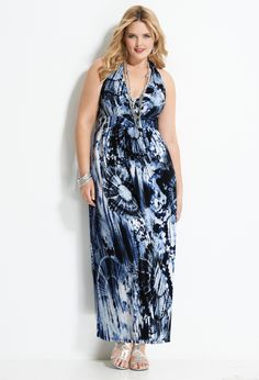 Tie Dye Print Halter Maxi Dress | Plus Size Dresses from Avenue