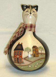 Primitive Cat Gourd with Salt Box Houses and by FromGramsHouse, $32.00