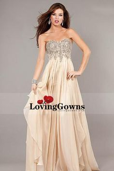 2013 Prom Dresses Empire Waist Floor Length Champagne Sweetheart Chiffon With Beading&Sequins