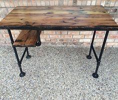 """Reclaimed Wood Desk Table - Rustic Solid Oak W/ 28"""" Black Iron Pipe legs."""