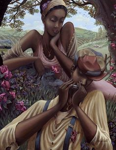 African American Love Couples Art | Love Jones by John Holyfield Image is watermarked for copyright ...