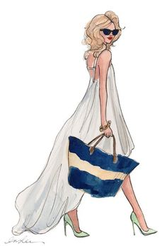 Little White Dress by Inslee Fashion Illustration Illustration Sketches, Fashion Illustrations, Fashion Sketches, Fashion Drawings, Illustration Fashion, Moda Fashion, Fashion Art, Fashion Models, Fashion Design